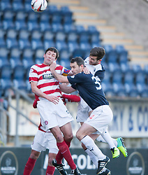 Hamilton's Martin Canning with Falkirk's David McCracken.<br /> half time : Falkirk 0 v 0 Hamilton, Scottish Championship game at The Falkirk Stadium. &copy; Michael Schofield 2014.