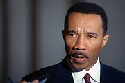 WASHINGTON, DC, USA - 1997/03/12: Former Congressmen and Head of the NAACP Kweisi Mfumi, holds a press conference to call for an investigation into sexual assault at the Aberdeen Proving Ground March 12, 1997 in Aberdeen, Maryland.  (Photo by Richard Ellis)