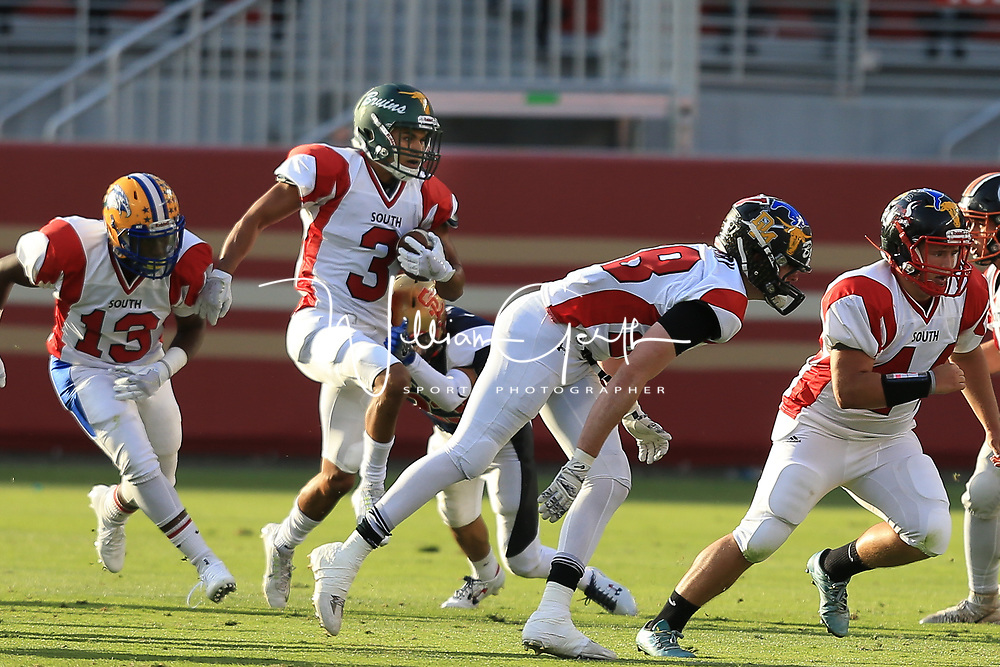 (Photograph by Bill Gerth/ for SVCN/6/24/17) Leigh #3 Jared King looks for yardage  in the Charie Wedemeyer All Star Game at Levi Stadium, San Jose CA on 6/24/17. (North 13 South 13)
