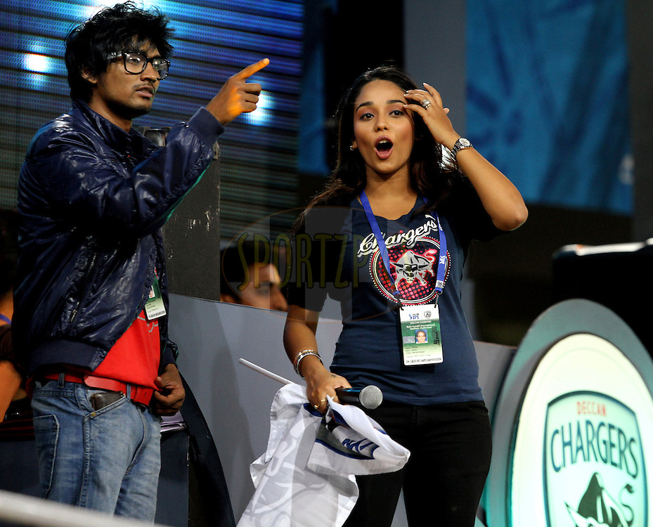 DC's DJ and Singer during match 11 of the Indian Premier League ( IPL ) between the Deccan Chargers and the Royal Challengers Bangalore held at the Rajiv Gandhi International Cricket Stadium in Hyderabad on the 14th April 2011..Photo by Prashant Bhoot/BCCI/SPORTZPICS.