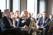 Marcia Daszko, center, listens as a panel discusses local manufacturing during the Silicon Valley Business Journal Power of Manufacturing Breakfast at the Silicon Valley Capital Club in San Jose, California, on January 24, 2017. (Stan Olszewski for Silicon Valley Business Journal)