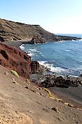 Coastal landscape of headlands and bays, El Golfo, Lanzarote, Canary Islands, Spain