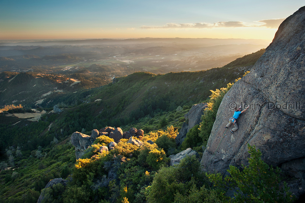 """Tim Terry climbing """"The Chickens are Restless"""" (5.8) at The Far Side on Mt. St. Helena above Napa Valley, in Robert Louis Stevenson State Park, Calistoga, California"""