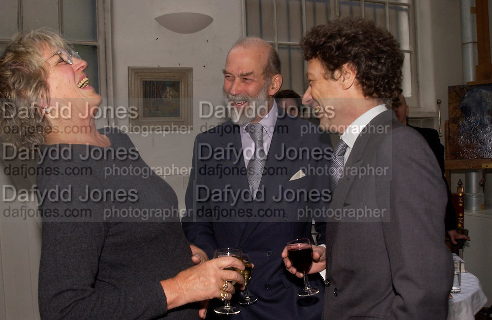 Germaine Greer, Prince Michael of Kent and Count Adam Zamoyski, 1812 Napoleon's Fatal March on Moscow by Adam Zamoyski book launch. Avenue Studios. Fulham Rd. 5 April 2004. ONE TIME USE ONLY - DO NOT ARCHIVE  © Copyright Photograph by Dafydd Jones 66 Stockwell Park Rd. London SW9 0DA Tel 020 7733 0108 www.dafjones.com