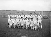 Galway team before the All Ireland Senior Gaelic Football Championship Final, Cork v Galway in Croke Park on the 7th October 1956. Galway 2-13 Cork 3-7. J Mangan (capt), J Keeley, G Daly, T Dillon, J Kissane, J Mahon, M Greally, F Evers, Matly McDonagh, J Coyle, S Purcell, W O'Neill, J Young, F Stockwell, G Kirwan, Sub, A Swords for Young.