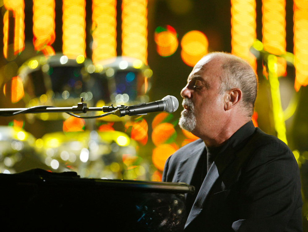 "Musician Billy Joel performs one of his last two shows at Shea Stadium during ""The Last Play at Shea"" show on July 16th, 2008 at Flushing Meadows in New York City."