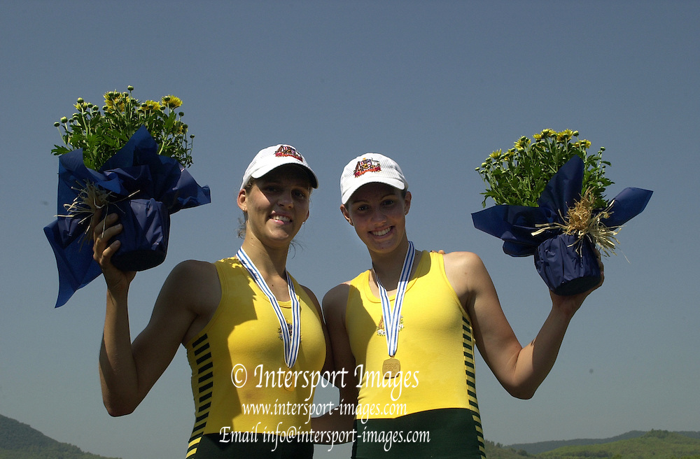 2004_Junior_Non_Olympics_Worlds_Lake Banyoles_Spain.31.07.2004 Saturday - Photo  Peter Spurrier .email images@intersport-images.com.Tel +44 7973 819 551 .AUS JW2- Bow Annika Naughton and Natalie Bale Rowing Course: Lake Banyoles, SPAIN . [Mandatory Credit: Peter Spurrier: Intersport Images].