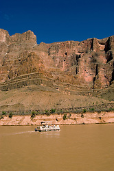 Scenic, Grand Canyon Boat Trip, Boating, pontoon boat on Colorado River, Arizona, AZ, cliffs, landscape, vertical, arid, erosion, nature, muddy water, no model release, Image nv466-18575.Photo copyright: Lee Foster, www.fostertravel.com, lee@fostertravel.com, 510-549-2202