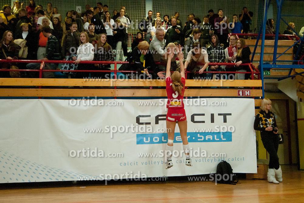 Monika Potokar of Nova KBM Branik Maribor greets her family during volleyball match between Nova KBM Branik Maribor and Calcit Kamnik in final game of Slovenia Volleyball Cup, on Januar 4, 2012 at Sportna Dvorana, Kamnik, Slovenia. Nova KBM Branik Maribor won 3:2. (Photo By Matic Klansek Velej / Sportida)