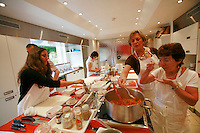 "Lenotre Ecole Culinaire, Paris,..short course - ""Return to the Market"" with Chef Jacky Legras..tasting the sauce basquaise..photo by Owen Franken for the NY Times..July 12, 2007......."