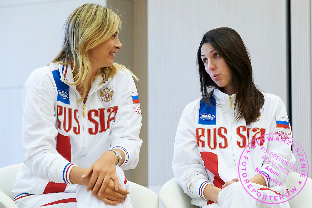 (L) Maria Sharapova and (R) trainer coach Anastasia Myskina both from Russia during official draw one day before the Fed Cup / World Group 1st round tennis match between Poland and Russia at Holiday Inn on February 6, 2015 in Cracow, Poland.<br /> <br /> Poland, Cracow, February 6, 2015<br /> <br /> Picture also available in RAW (NEF) or TIFF format on special request.<br /> <br /> For editorial use only. Any commercial or promotional use requires permission.<br /> <br /> Adam Nurkiewicz declares that he has no rights to the image of people at the photographs of his authorship.<br /> <br /> Mandatory credit:<br /> Photo by &copy; Adam Nurkiewicz / Mediasport
