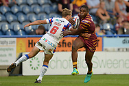 Jermaine McGillvary of Huddersfield Giants side steps Jacob Miller of Wakefield Trinity during the Betfred Super League match at the John Smiths Stadium, Huddersfield<br /> Picture by Richard Land/Focus Images Ltd +44 7713 507003<br /> 27/07/2018