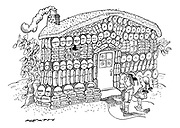 (Hansel and Gretel arriving at a 'gingerbread house' built out of tranquilizers and sedatives)