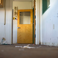 Classrooms and offices in Rehoboth High School were stripped and the baseboards pulled out Friday after a water line break under the building in Rehoboth.