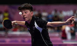 October 7, 2018 - Buenos Aires, Argentina - 181007 2018 Youth Olympic Games, Day 1: Nathan Xu NZL in action during his Table Tennis Men's Singles Preliminary Stage game against Cristian Pletea ROU at the Table Tennis Arena, Tecnopolis Park. The Youth Olympic Games, Buenos Aires, Argentina, Sunday 7th October 2018. Photo: Joe Toth for OIS/IOC. Handout image supplied by OIS/IOC  (Credit Image: © Joe Toth For Ois/Bildbyran via ZUMA Press)