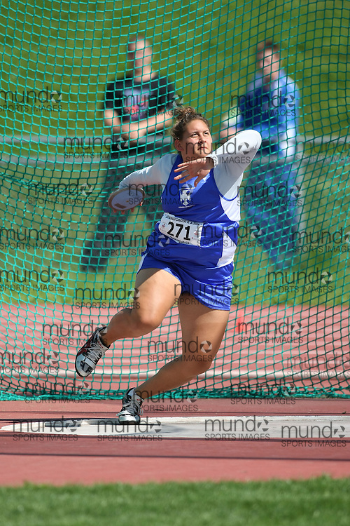 (Sherbrooke, Quebec---10 August 2008) Alisha Caldwell competing in the discus at the 2008 Canadian National Youth and Royal Canadian Legion Track and Field Championships in Sherbrooke, Quebec. The photograph is copyright Sean Burges/Mundo Sport Images, 2008. More information can be found at www.msievents.com.