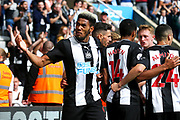 Joelinton (#9) of Newcastle United celebrates Newcastle United's first goal (1-1) scored by Fabian Schar (#5) of Newcastle United during the Premier League match between Newcastle United and Watford at St. James's Park, Newcastle, England on 31 August 2019.