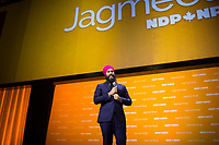 New Democratic Party leader Jagmeet Singh delivers the leader speech on Saturday, February 17th 2018, day two of the New Democratic Party 2018 policy convention held at the Shaw Convention Centre in Ottawa.