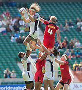 Twickenham. UK. The No. 4's going for it with Garrett BENDER winning the line out ball from Canadian, John MOONLIGHT, during the Cup Quarter Final USA vs Canada  during the 2015. Marriott London Sevens. RFU Twickenham Stadium. Surrey. 16.05.2015. [Mandatory Credit: Peter Spurrier/Intersport Images]