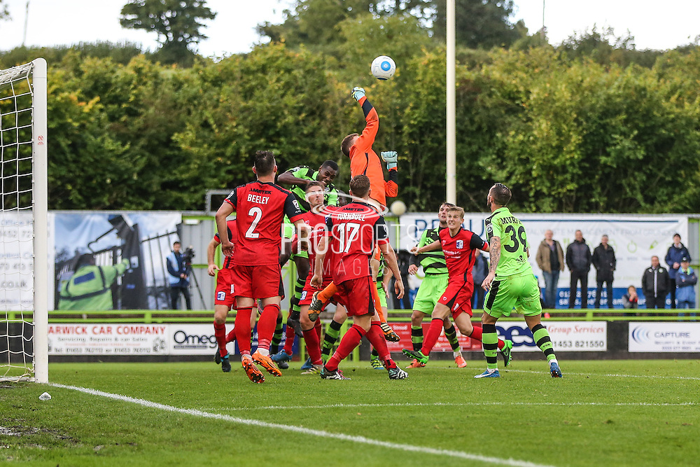 Barrows goalkeeper Joel Dixon(1) punches clear a corner during the Vanarama National League match between Forest Green Rovers and Barrow at the New Lawn, Forest Green, United Kingdom on 1 October 2016. Photo by Shane Healey.