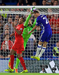 LONDON, ENGLAND - Friday, September 16, 2016: Liverpool's goalkeeper Simon Mignolet in action against Chelsea's Nemanja Matic during the FA Premier League match at Stamford Bridge. (Pic by David Rawcliffe/Propaganda)
