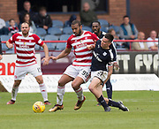 5th May 2018, Dens Park, Dundee, Scotland; Scottish Premier League football, Dundee versus Hamilton Academical; Cammy Kerr of Dundee tackles Marios Ogboe of Hamilton Academical