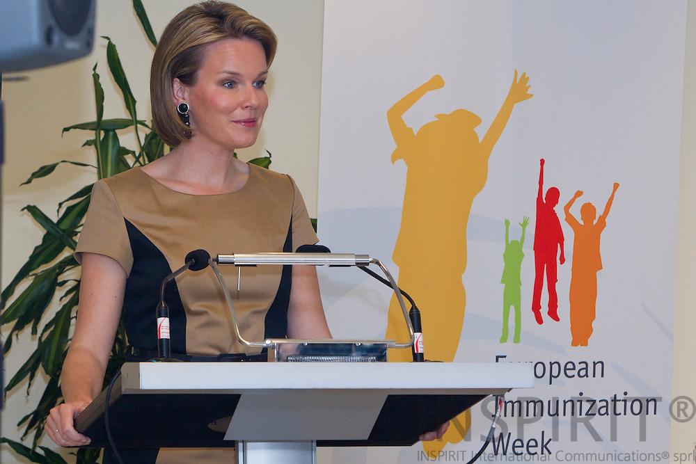 BRUSSELS - BELGIUM - 26 APRIL 2011 - - WHO European Immunization Week 2011 - - Her Royal Highness Princess Mathilde of Belgium.  Photo: Erik Luntang / INSPIRIT Photo