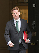 © Licensed to London News Pictures. 18/03/2015. Westminster, UK Danny Alexander, Chief Secretary to the Treasury, , leaves Downing Street on the day of the spring budget 2015. Photo credit : Stephen Simpson/LNP