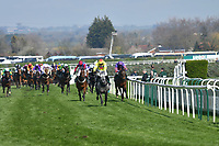 National Hunt Horse Racing - 2019 Randox Health Grand National Festival - Saturday, Day Three (Grand National Day)<br /> <br /> 1st placed Harry Skelton on no 2 Aux Ptits Soins ,leads the field in the 1.45 Gaskells Handicap Hurdle (Grade 3) (Class 1)<br /> at Aintree Racecourse.<br /> <br /> COLORSPORT/WINSTON BYNORTH