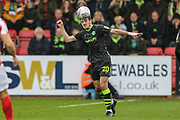 Forest Green Rovers Liam Kitching(20) heads the ball during the EFL Sky Bet League 2 match between Cheltenham Town and Forest Green Rovers at Jonny Rocks Stadium, Cheltenham, England on 2 November 2019.