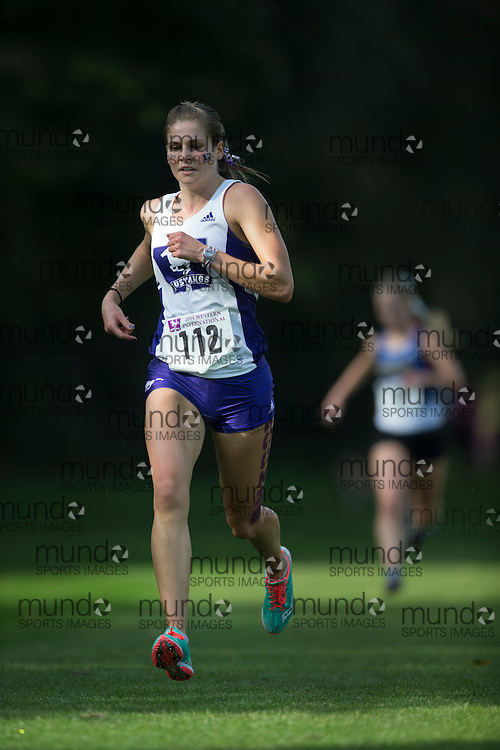 Jessica White of the Western Mustangs runs at the 2014 Western International Cross country meet in London Ontario, Saturday,  September 20, 2014.<br /> Mundo Sport Images/ Geoff Robins