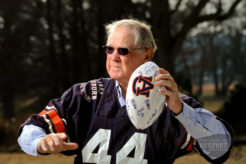 Photo by Gary Cosby Jr.   Lloyd Nix, Auburn's last National Championship winning quarterback, is photographed at his home in Priceville.  Nix led the 1957 Auburn team to the Championship.