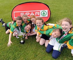 Celebration time… St Joseph's NS Woodford Co Galway finalists in the SPAR FAI Primary Schools 5's Connacht finals, pictured at Solar Park Mayo with their Cup and medals. As winners they will progress to the SPAR FAI Primary School 5's National Finals in the Aviva Stadium on May 31st.<br /> Pic Conor McKeown