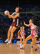 Bailey Mes with the ball for the Tactix during the ANZ Championship Netball game between the Mainland Tactix v Adelaide Thunderbirds at Horncastle Arena in Christchurch. 20th April 2015 Photo: Joseph Johnson/www.photosport.co.nz