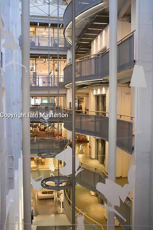 Interior of Stilwerk design shopping center in Hamburg Germany