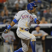 Curtis Granderson, New York Mets, hits a two run homer in the top of the sixth during the New York Yankees V New York Mets, Subway Series game at Yankee Stadium, The Bronx, New York. 12th May 2014. Photo Tim Clayton