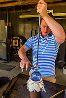Glassblowing at Garden City Glass, Jewell Gardens, Skagway, Alaska USA.