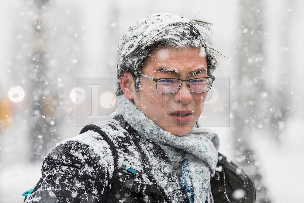 © Licensed to London News Pictures. 28/02/2018. London, UK. A man gets caught in heavy snow on Whitehall in central London. Severe weather is set to continue as the 'Beast from the East' brings freezing Siberian air to the UK. Photo credit: Rob Pinney/LNP