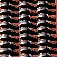 Apartment balconies in the late morning sun in Minneapolis, Minn. in 1999.