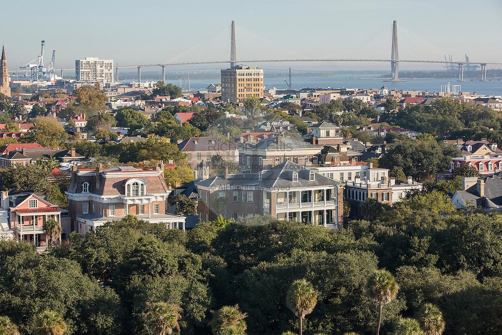 Aerial view of historic Charleston with the Ravenel Bridge Charleston, South Carolina.