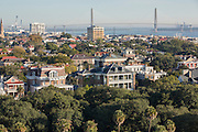 Aerial view of historic Charleston with the Ravenel Bridge Charleston, South Carolina.