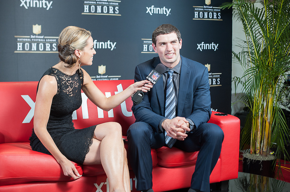 NFL Player Andrew Luck being interviewed by NFL networks Alex Flanagan at the Mahalia Jackson Theatre NFL Honors in New Orleans, Louisiana on Feb.2 2013.