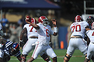 Ole Miss vs. Alabama Crimson Tide quarterback Blake Sims (6) at Vaught-Hemingway Stadium in Oxford, Miss. on Saturday, October 4, 2014. Ole Miss won 23-17.