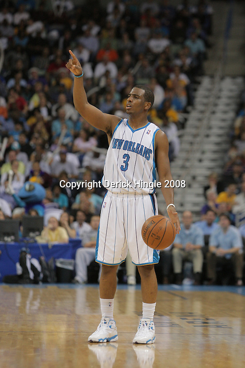 05 November 2008: New Orleans Hornets guard Chris Paul (3) in action during a 87-79 victory by the Atlanta Hawks over the New Orleans Hornets at the New Orleans Arena in New Orleans, LA..