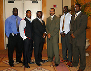 (L-R) Hampton University's Justin Durant, Alonzo Coleman, Head Coach Joe Taylor, ESPN Radio Stephen A. Smith, Hampton's Princeton Sheppard and Marcus Dixon pose during the 2006 MEAC-SWAC Kickoff Luncheon at the Sheraton Birmingham Hotel in Birmingham, Alabama..  September 01, 2006  (Photo by Mark W. Sutton)