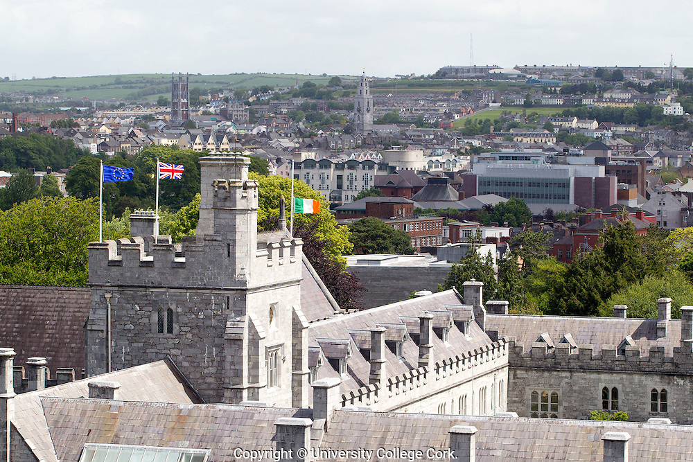 University College Cork flying the flag(s). 20th May 2011. Photograph by Tomas Tyner, UCC.