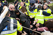Passions ran high eat the Labour conference at NUIG turned nasty as the Protestors breached the Gardai blocades.Photo:Andrew Downes.