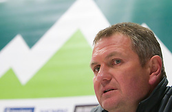 Head coach of Slovenia Matjaz Kek during press conference after the training session at  Hyde Park High School Stadium on June 14, 2010 in Johannesburg, South Africa.  (Photo by Vid Ponikvar / Sportida)