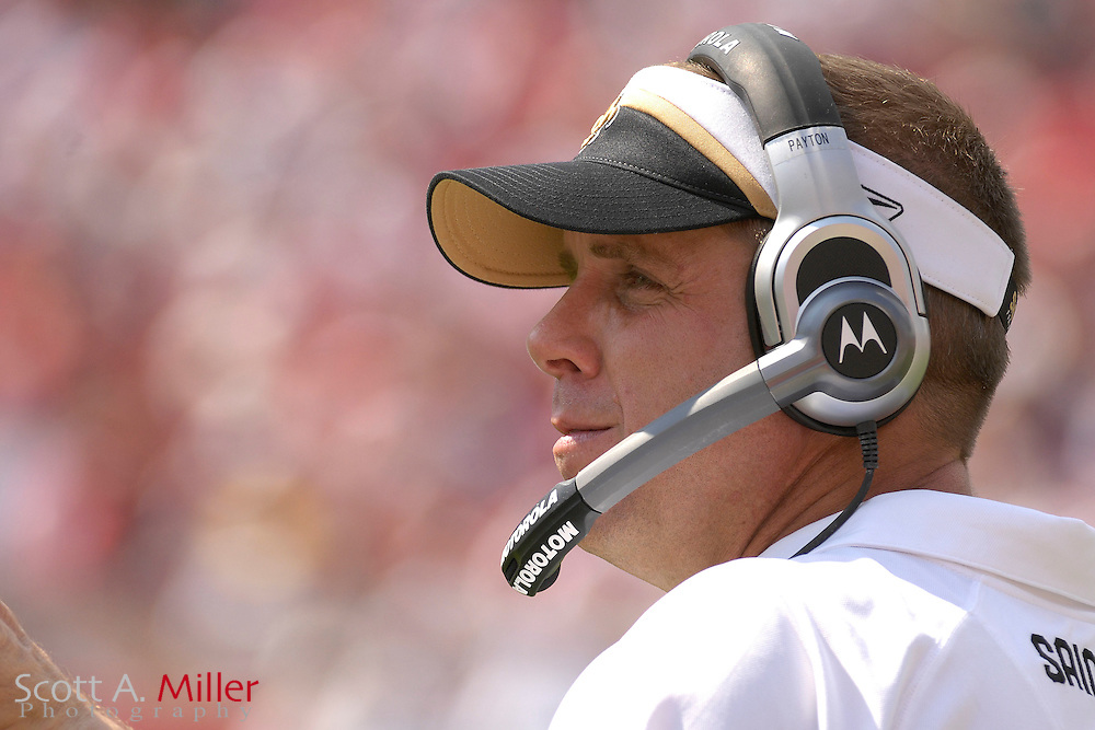 Sep 16, 2007; Tampa, FL, USA; New Orleans Saints coach Sean Peyton during his team's 31-14 loss to the Tampa Bay Buccaneers at Raymond James Stadium. Mandatory Credit: Scott A. Miller-US PRESSWIRE..©2007 Scott A. Miller