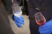Beaujolais Nouveau fesitval, tasting, at Argé wine store in Paris..Photograph by Owen Franken